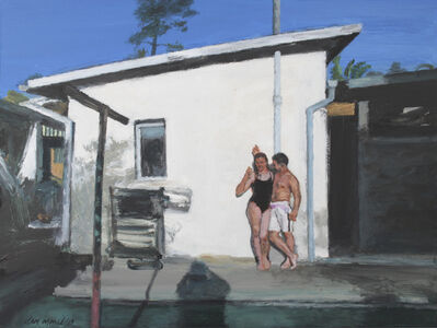 Clare Menck, 'Bather couple in a back yard', 2019