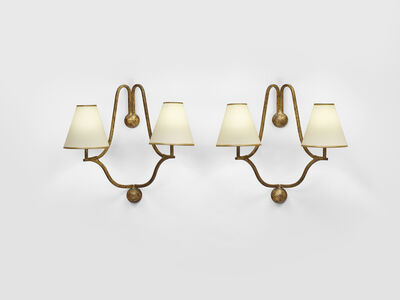 Jean Royère, 'Pair of 2-branched Jacques wall lights', ca. 1950