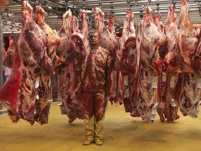 Liu Bolin, 'Hiding in France, Meat Factory', 2013