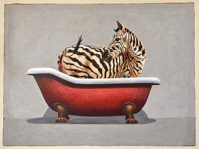 """Santiago Garcia, '""""#672"""" Oil painting of a black and white zebra in a red clawfoot tub', 2012-2019"""