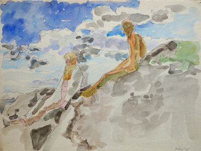 Lois Dodd, 'Two Figures on Rocks (Models on Rocks)', 1965