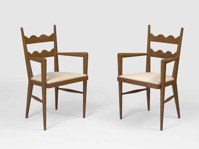 Jean Royère, 'Pair of Ondulation bridge armchairs', ca. 1950
