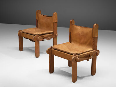 Unattributed, 'Pair of French chairs in Cognac Leather', 1950s