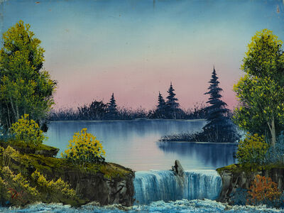 Bob Ross, 'Bob Ross Misty Waterfall Signed Original Painting Contemporary Art', 1980