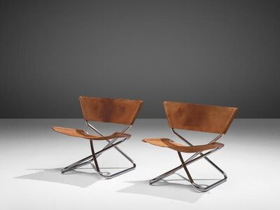 Erik Magnussen, 'Pair of 'Z' Lounge Chairs in Cognac Leather', 1960s