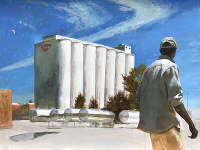 Bo Bartlett, 'NutMan (Unemployed Worker at The Old Tom's Peanuts Factory Silos)', 2019