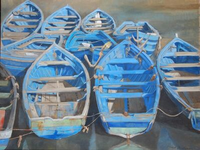 "Michel Brosseau, '""All Tied Up"" Oil painting of Blue Wooden Rowboats Tied at Dock, Painted on Linen', 2010-2017"