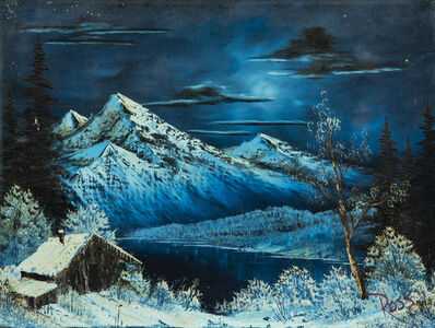 Bob Ross, 'Bob Ross Winter Moon Signed Original Painting Contemporary Art', 1970-1990