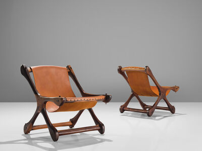 Don Shoemaker, 'pair of Armchairs in Cocobolo and Leather', 1960s