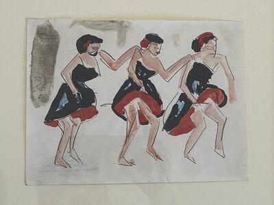 """Ernst Ludwig Kirchner, '""""Drei Tänzerinnen"""" ( Three Dancing Girls)', ca. 1910-12"""