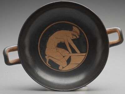 'Attic Red-Figure Kylix: Hetaira Drawing Water from a Pithos', ca. 500 BCE