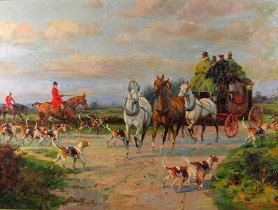 Jack Levine, 'Fox Hunt and Coach', ca. 1980