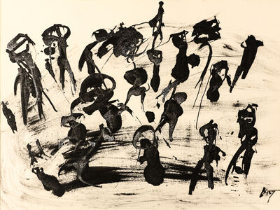"Henri Michaux, 'Untitled (""People on paysage"" serie) , hm 7838, Collection Luigi Moretti, Roma', executed between 1950-52"