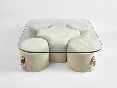 Guido Faleschini, 'a coffee table with 4 poufs ', ca. 1970