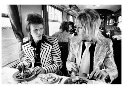 Mick Rock, 'David Bowie and Mick Ronson, Train to Aberdeen', 1973