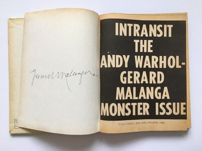 Andy Warhol, 'Intransit The Andy Warhol-Gerard Malanga Monster Issue Signed by Gerard Malanga', 1968