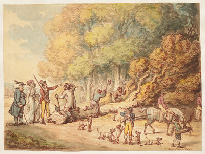 Thomas Rowlandson, 'A Sportsman with His Family Instructing Woodmen to Chop up a Felled Tre', ca. 1816