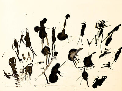 "Henri Michaux, 'Untitled (""People on paysage"" serie) , hm 7837, Collection Luigi Moretti, Roma', executed between 1950-52"