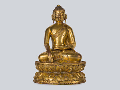 Bronze Sculpture, 'A Rare Gilt Bronze Figure of Shakyamuni, Tibet 13-14th Century, 15 cm.'