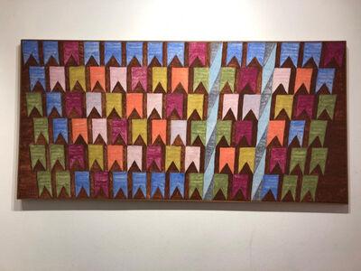 Alfredo Volpi, 'Mastros e bandeiras', 1970