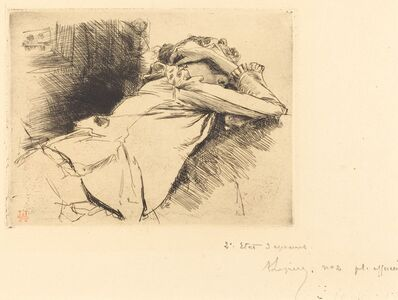Auguste Lepère, 'Reclined Woman Sleeping (Femme couchee sommeillant)', 1892