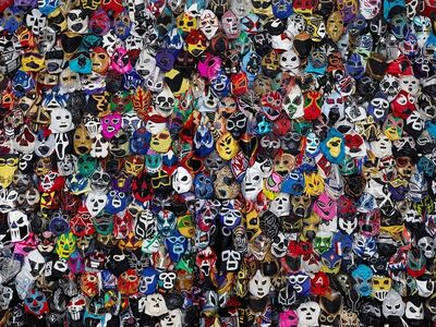 Liu Bolin, 'Hiding in Mexico- Mexican Wrestling mask', 2015
