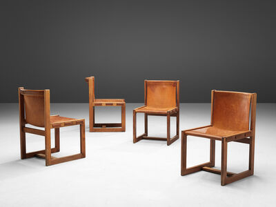 Unattributed, 'Italian Set of Dining Chairs in Patinated Cognac Leather', 1960s