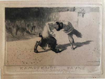 """Franz von Stuck, 'Original Etching """"Kampfende Faune""""', late 19th century"""