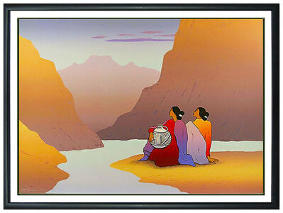 R.C. Gorman, 'R.C. GORMAN Large Color Lithograph Women From Salt River Native American Artwork', 1991