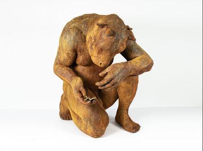 "Beth Carter, '""Crouching Minotaur w/ book"" resin iron-oxide', 2020"