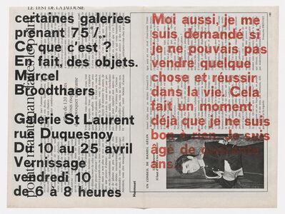 Marcel Broodthaers, 'Moi aussi, je me suis demandé si je ne pouvais pas vendre quelque chose et réussir dans la vie . . . (I, too, wondered whether I could not sell something and succeed in life . . .) ', 1964