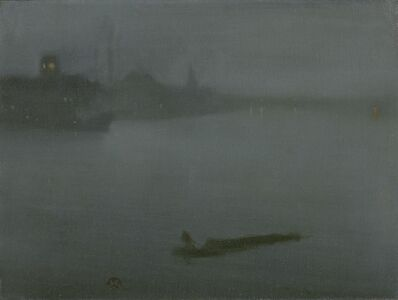 James Abbott McNeill Whistler, 'Nocturne in Blue and Silver', 1872-1878; butterfly added ca. 1885