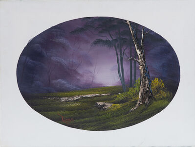 Bob Ross, 'Bob Ross Signed Original Episode Piece Misty Forest Oval Contemporary Art Painting ', 1970-2000
