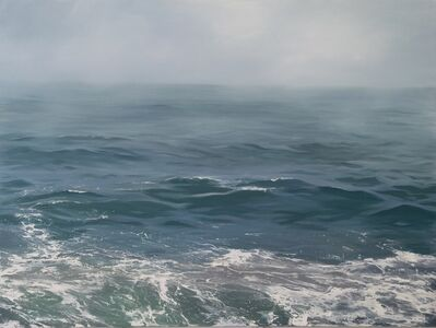 "Annie Wildey, '""Mist and Swell"" oil painting of waves and fog in blues and gray', 2010-2018"