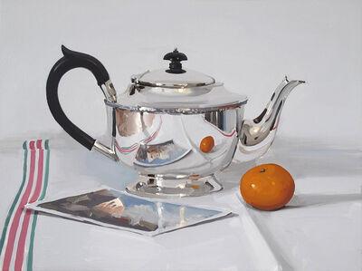 Alan Kingsbury, 'Silver Teapot with Postcard and Mandarin'