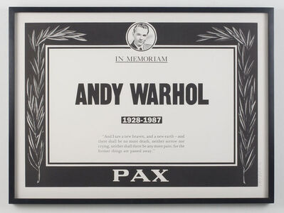 Trey Speegle, 'Andy Warhol Memorial Poster', 1987