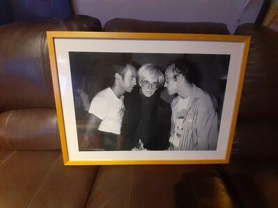 Patrick McMullan, 'Kenny Scharf, Andy Warhol, Keith Haring', 2002