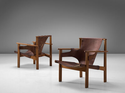 Carl Axel Acking, 'Pair of 'Trienna' Chairs in Patinated Brown Leather', 1957