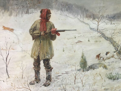 Frederic Burnett, 'African American Man Hunting in the Snow', ca. 1900
