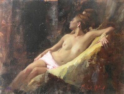 Michael Alford, 'Nude, Seated, Gold Ochre I - female figurative artwork', 2020