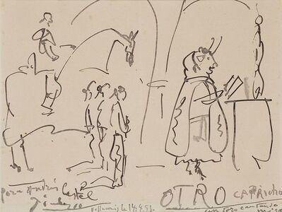 Pablo Picasso, 'Otro capricho. Un toro cantando misa', 1951
