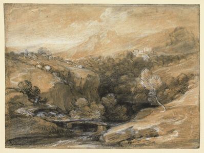 Thomas Gainsborough, 'Extensive Wooded Landscape with a Bridge over a Gorge, Distant Village and Hills', ca. 1786