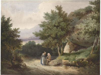 Alexandre Calame, 'Landscapes with two people resting', 1832