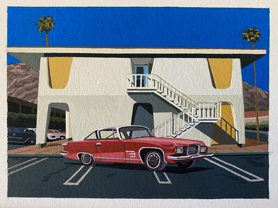 Andy Burgess, '1961 Chrysler Ghia 6.4L in front of the Palm Patencio Building in palm Springs ', 2020