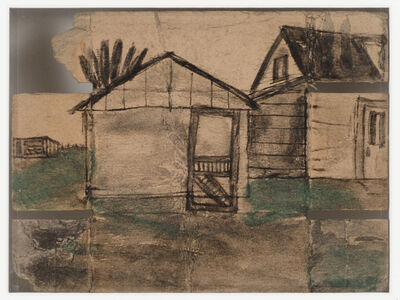 James Castle, 'Untitled (Shed with Screen Door/Shed with Power Pole)', n.d.