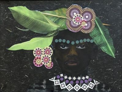 """Janice Frame, '""""Noble Son"""" mixed media portrait of an african boy with leaves and flowers around his head', 2020"""