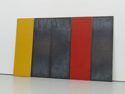 Richard Nonas, 'Steel Drawing, 5 Plates: One Red, One Yellow', 1988