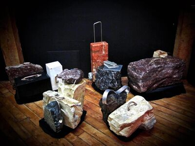 Paul Slipper, 'Travelling Sculpture Show III - grouping, stone, travel narrative installation', 2018