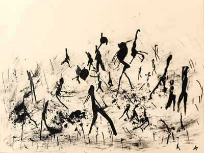 "Henri Michaux, 'Untitled (""People on paysage"" serie) , hm 7827, Collection Luigi Moretti, Roma', executed between 1950-52"