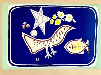 Georges Braque, 'Georges Braque School Prints Bird, Fish, Star, Modernist Drawing Lithograph', 1940-1949